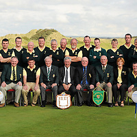 16 September 2011: Woodstock Golf Club, winners of the Pierce Purcell Shield at the Chartis All-Ireland Cups and Shields 2011 at Castlerock Golf Club, back row, left to right, Brian Mulcahy, James McMahon, Shane Fitzgerald, Ollie McNamara, Mike Kelly, Michael O'Brien, Robert Dormer, Liam McInerney, Martin Dormer, Michael Talty, Frank Doherty, Tom Hehir, Declan Coote, Tom Dormer. Front row, left to right, Rory Callinan, Jimmie Kelly, club president, Eugene Quinn, club captain, Eoin O'Laughlin, team captain, Eugene Fayne, President Golfing Union of Ireland, Simon Russell, Chartis Insurance Ireland, Vincent McGuigan, captain, Castlerock Golf Club, Joan Barrett, lady captain and Jason Considine. Chartis Cups and Shields Finals 2011, Castlerock Golf Club, Co. Derry. Picture credit: Oliver McVeigh/ SPORTSFILE *** NO REPRODUCTION FEE ***
