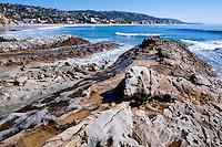 United States, California, Laguna Beach. Laguna Beach is a seaside resort city and artist community located in southern Orange County. Rocky, eroded coast.