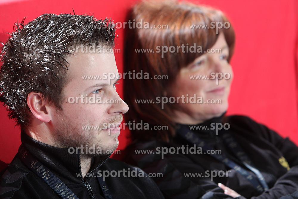 Coaches of Krim Uros Bregar and Marta Bon at EHF Champions league handball match in Group II between RK Krim Mercator and Gyori Audi Eto KC, on February 7, 2009, in Kodeljevo, Ljubljana, Slovenia. Gyori won 35:31. (Photo by Vid Ponikvar / Sportida)
