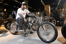 Koh Sakaguchi of Suicide Customs in Japan with his 1981 Ironhead Harley-Davidson Sportster for which he made the rocker boxes and heads on his C&C. On display in the AMD World Championship of Custom Bike Building in the Intermot Customized hall during the Intermot International Motorcycle Fair. Cologne, Germany. Sunday October 7, 2018. Photography ©2018 Michael Lichter.