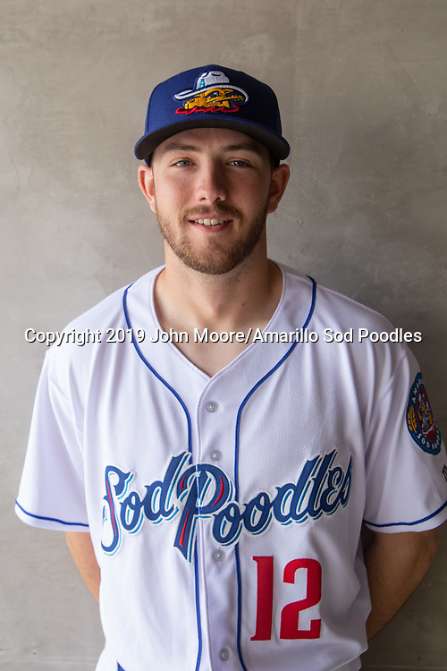 Amarillo Sod Poodles infielder Matthew Batten (12) during Media Day on Tuesday, April 2, 2019, at HODGETOWN in Amarillo, Texas. [Photo by John Moore/Amarillo Sod Poodles]