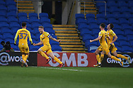 Tom Clarke of Preston North End © celebrates with teammates after he scores his teams 1st goal. EFL Skybet championship match, Cardiff city v Preston North End at the Cardiff city stadium in Cardiff, South Wales on Friday 29th December 2017.<br /> pic by Andrew Orchard, Andrew Orchard sports photography.