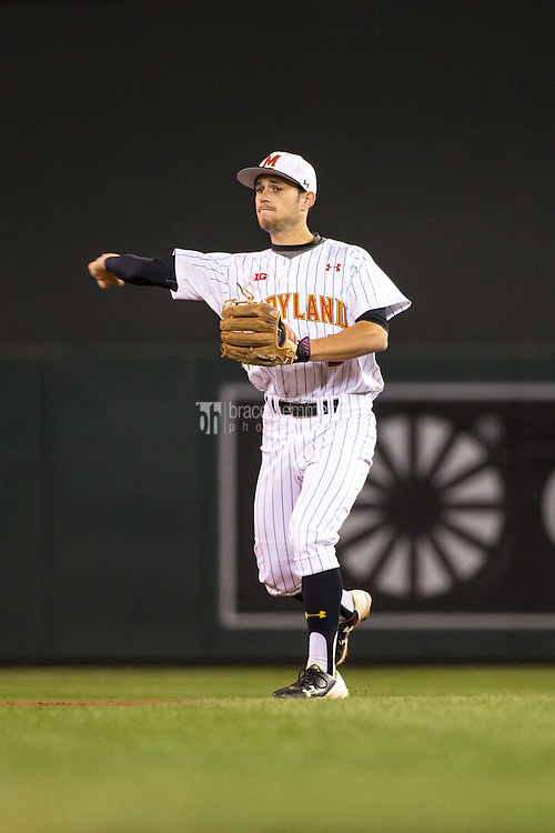 Brandon Lowe (5) of the Maryland Terrapins throws during a 2015 Big Ten Conference Tournament game between the Maryland Terrapins and Michigan State Spartans at Target Field on May 20, 2015 in Minneapolis, Minnesota. (Brace Hemmelgarn)