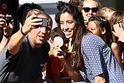 Medaillewinnaars van de Olympische Zomerspelen 2016 vertrekken per fiets van het Binnenhof voor een ontvangst op Paleis Noordeinde. <br /> <br /> op de foto:  Naomi van as