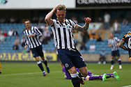 Aiden O'Brien of Millwall reacts after missing a chance to score. EFL Skybet football league one match, Millwall v Bradford city at The Den in London on Saturday 3rd September 2016.<br /> pic by John Patrick Fletcher, Andrew Orchard sports photography.