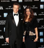Colin Firth, Livia Firth, Alexander McQueen: Savage Beauty Fashion Gala, Victoria & Albert Museum, London UK, 12 March 2015, Photo by Richard Goldschmidt