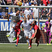 Brad Davis, USA, heads clear during the US Men's National Team Vs Turkey friendly match at Red Bull Arena.  The game was part of the USA teams three-game send-off series in preparation for the 2014 FIFA World Cup in Brazil. Red Bull Arena, Harrison, New Jersey. USA. 1st June 2014. Photo Tim Clayton