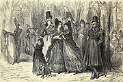 Les élégants de Madrid il y a cinquante ans (d'aprés une ancienne estampe) [The elegant people of Madrid fifty years ago (from an old print)] Page illustration from the book 'Spain' [L'Espagne] by Davillier, Jean Charles, barón, 1823-1883; Doré, Gustave, 1832-1883; Published in Paris, France by Libreria Hachette, in 1874