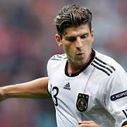 Germany's Mario GOMEZ celebrate his goal during their UEFA EURO 2012 Qualifying round Group A matchday 19 soccer match Turkey betwen Germany at TT Arena in Istanbul October 7, 2011. Photo by TURKPIX