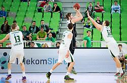 Giorgios Bogris vs Vasilije Vucetic #12 of KK Unio Olimpija during basketball match between KK Union Olimpija Ljubljana and Bilbao Basket (ESP) in Round #9 of EuroCup 2015/16, on December 9, 2015 in Arena Stozice, Ljubljana, Slovenia. Photo by Vid Ponikvar / Sportida
