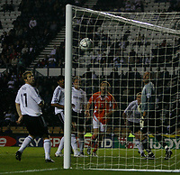 Photo: Steve Bond.<br />Derby County v Blackpool. Carling Cup. 28/08/2007. Kaspars Gorkss watches as his header goes into the net