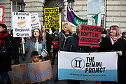 Womens rights protesters gather outside the Cypriot Embassy in protest and support of a 19-year-old British woman who has been convicted of falsely claiming that she was raped in a hotel in Ayia Napa by 12 Israeli men in the summer of 2019, on 6th January 2020 in London, England, United Kingdom. The case has caused outrage in the U.K. with #IBelieveHer and #BoycottCyprus being used on social media. She is due to be sentenced on 7th January.