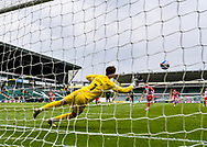 GOAL 1-2 Sunderland Midfielder Chris Maguire (7) scores from the penalty spot while Plymouth Argyle Goalkeeper Michael Cooper (1) is diving and trying to make a save  during the EFL Sky Bet League 1 match between Plymouth Argyle and Sunderland at Home Park, Plymouth, England on 1 May 2021.