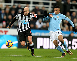 27 December 2017 Newcastle: Premier League Football - Newcastle United v Manchester City : Jonjo Shelvey of Newcastle holds off the challenge of Gabriel Jesus of Man City.<br /> (photo by Mark Leech)