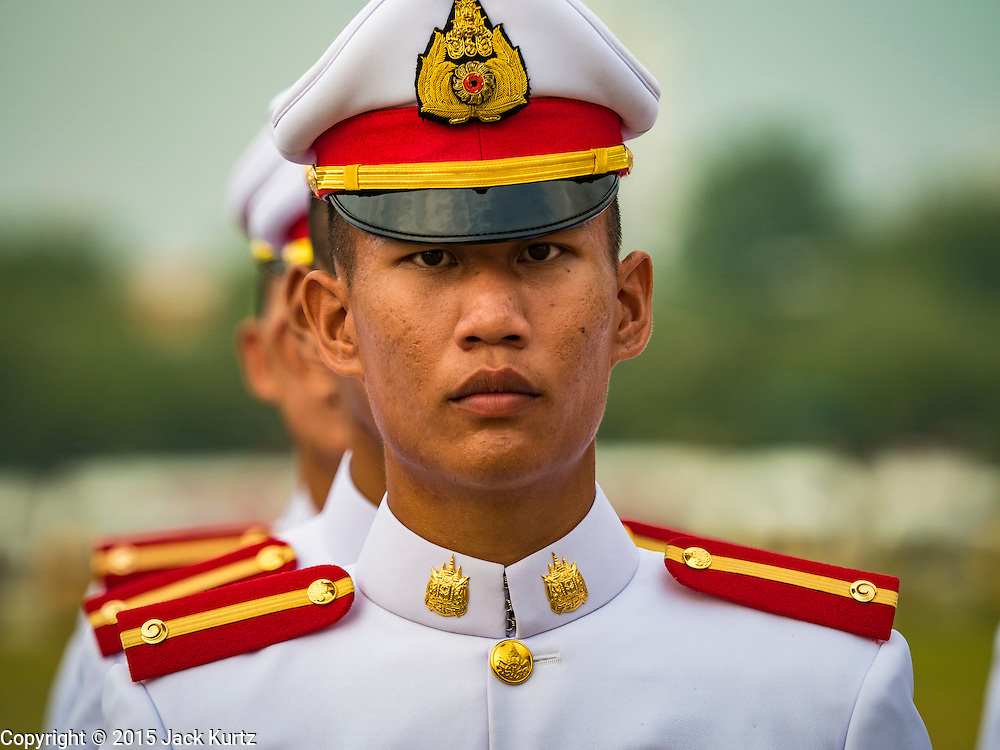 05 DECEMBER 2015 - BANGKOK, THAILAND: Thai military cadets in formation on the King's Birthday on Sanam Luang in Bangkok. Thais marked the 88th birthday of Bhumibol Adulyadej, the King of Thailand,  Saturday. The King was born on December 5, 1927, in Cambridge, Massachusetts. The family was in the United States because his father, Prince Mahidol, was studying Public Health at Harvard University. He has reigned since 1946 and is the world's currently the longest serving monarch in the world and the longest serving monarch in Thai history. Bhumibol, who is in poor health, is revered by the Thai people. His birthday is a national holiday and is also celebrated as Father's Day. He is currently hospitalized in Siriraj Hospital, recovering from a series of health setbacks.    PHOTO BY JACK KURTZ