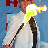 Celebrity magician Dany Blue performs during the 100 babes party organized by FHM magazine.