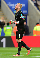Kasper Schmeichel of Leicester celebrates after his side score a goal to go 1-0 up. Premier league match, Leicester City v Watford at the King Power Stadium in Leicester, Leicestershire on Saturday 6th May 2017.<br /> pic by Bradley Collyer, Andrew Orchard sports photography.