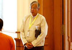 U Htin Kyaw of Myanmar's ruling National League for Democracy (NLD) arrives at the Union Parliament in Nay Pyi Taw, Myanmar, March 15, 2016. U Htin Kyaw from Myanmar's ruling National League for Democracy (NLD), led by Aung San Suu Kyi, won the presidential election Tuesday through a secret ballot, thus becoming the country's new president for the next five-year term. EXPA Pictures © 2016, PhotoCredit: EXPA/ Photoshot/ U Aung<br /> <br /> *****ATTENTION - for AUT, SLO, CRO, SRB, BIH, MAZ, SUI only*****