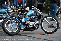 The Old Bike Barn's Zane Cook's custom 1976 Kawasaki KZ400 at the Stampede pre-Born Free gathering and races in the City of Industry, CA, USA. Thursday, June 20, 2019. Photography ©2019 Michael Lichter.