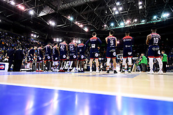 Bristol Flyers during the presentations after the final whistle as Worcester Wolves win the BBL Cup Final - Photo mandatory by-line: Ryan Hiscott/JMP - 26/01/2020 - BASKETBALL - Arena Birmingham - Birmingham, England - Bristol Flyers v Worcester Wolves - British Basketball League Cup Final