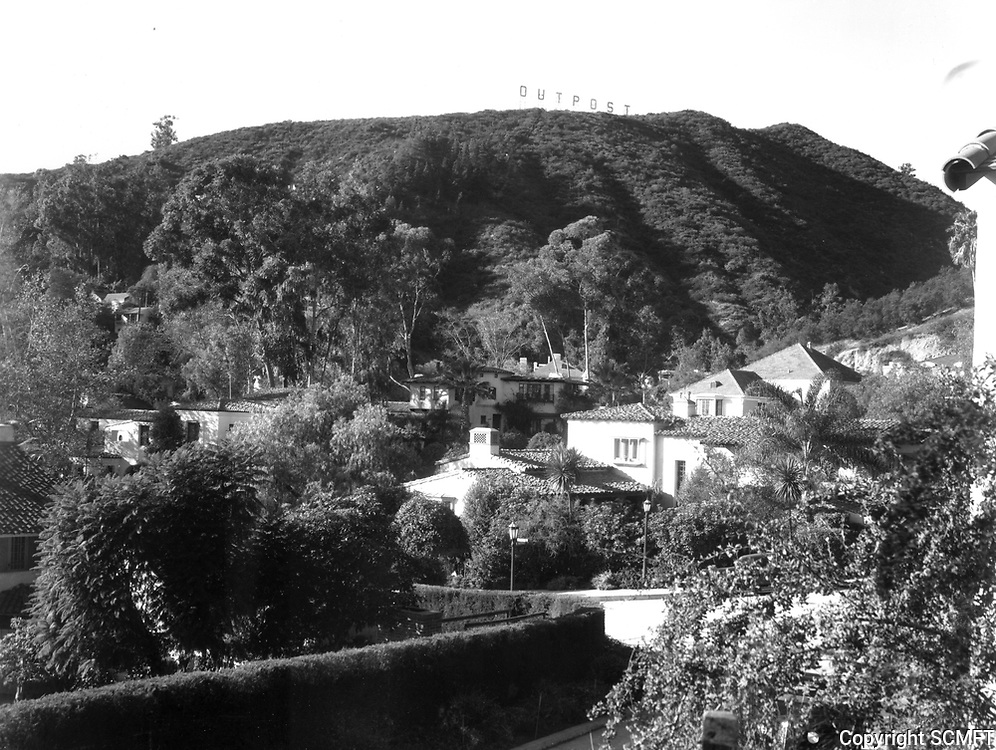 1930 Looking NW at Outpost Estates from Outpost Circle & Hillside Ave. Outpost sign is on the top of the mountain