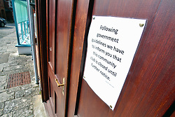 Covid 19 - Sign on the closed doors of a community club in a market town in Dorset during lockdown, UK March 2020