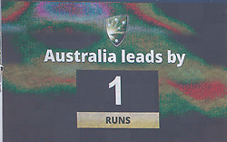General view of scoreboard as Australia take the lead during day three of the Ashes Test match at the WACA Ground, Perth.