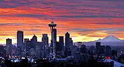 Sunrise over Seattle skyline taken from Kerry Park. (Jimi Lott / The Seattle Times, 2000)