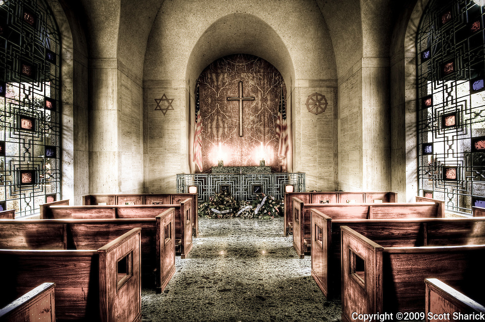 The chapel at Punchbowl Cemetery in Honolulu, Hawaii.