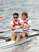 2006 FISA World Cup, Lucerne, SWITZERLAND, 08.07.2006. men's paire Semi final CRO M2- Niksa SKELIN, and Milan RAZOV Photo  Peter Spurrier/Intersport Images email images@intersport-images.com....[Mandatory Credit Peter Spurrier/Intersport Images... Rowing Course, Lake Rottsee, Lucerne, SWITZERLAND.