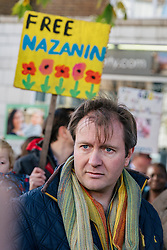 "© Licensed to London News Pictures. 25/11/2017. London, UK. Richard Ratcliffe, husband of British Iranian Nazanin Zaghari-Ratcliffe who remains in prison in Iran. Proteters delivered a ""Mothers Open Letter"" to the Islamic Centre England addressed to His Excellency Sayyed Ali Hosseini Khamenein calling for her immediate release. Photo credit: Rob Pinney/LNP"