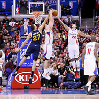 01 February 2014: Utah Jazz center Rudy Gobert (27) vies for the rebound with Los Angeles Clippers power forward Blake Griffin (32) and Los Angeles Clippers small forward Matt Barnes (22) during the Los Angeles Clippers 102-87 victory over the Utah Jazz at the Staples Center, Los Angeles, California, USA.