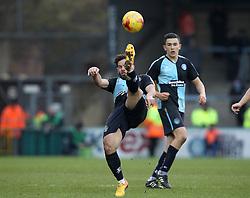 Sam Wood of Wycombe Wanderers hooks the ball forward - Mandatory byline: Robbie Stephenson/JMP - 27/02/2016 - FOOTBALL - Adams Park - Wycombe, England - Wycombe Wanderers v Bristol Rovers - Sky Bet League Two