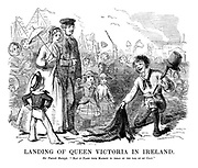 "Landing of Queen Victoria In Ireland. Sir Patrick Raleigh. ""May it plase your majesty to tread on the tail of my coat."""