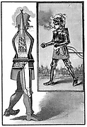 George Moore's steam man. Petrol-fired boiler operated a 1/2 hp engine. Exhaust escaped through helmet, steam exhaust through cigar. Walking speed 7-9 mph. From 'La Science Illustree', Paris, 1893.
