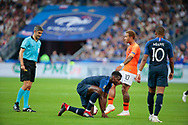 Paul Pogba (FRA) on the floor, Memphis Depay (NDL), Kylian Mbappe (FRA) during the UEFA Nations League, League A, Group 1 football match between France and Netherlands on September 9, 2018 at Stade de France stadium in Saint-Denis near Paris, France - Photo Stephane Allaman / ProSportsImages / DPPI