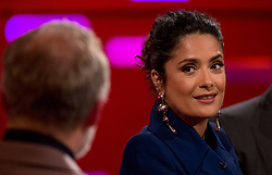 (left to right) Host Graham Norton with Salma Hayek during the filming of the Graham Norton Show at the London Studios, to be aired on BBC One on Friday.