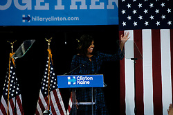 September 28, 2016 - Philadelphia, PA, United States - First Lady Michelle Obama makes the case for Hillary Clinton at the first of two campaign stops in Pennsylvania a key battleground state for the Clinton campaign in Philadelphia, Pa on September 28, 2016. (Credit Image: © Cory Clark/NurPhoto via ZUMA Press)