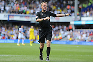 Referee Oliver Langford awards a penalty to QPR. Skybet EFL championship match, Queens Park Rangers v Leeds United at Loftus Road Stadium in London on Sunday 7th August 2016.<br /> pic by John Patrick Fletcher, Andrew Orchard sports photography.
