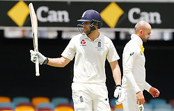 England's Dawid Malan celebrates his fifty during day two of the Ashes Test match at The Gabba, Brisbane.