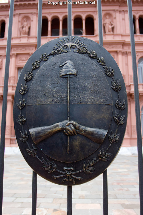 Buenos Aires, Argentina - The Argentine Seal on the fence in front of the Pink House