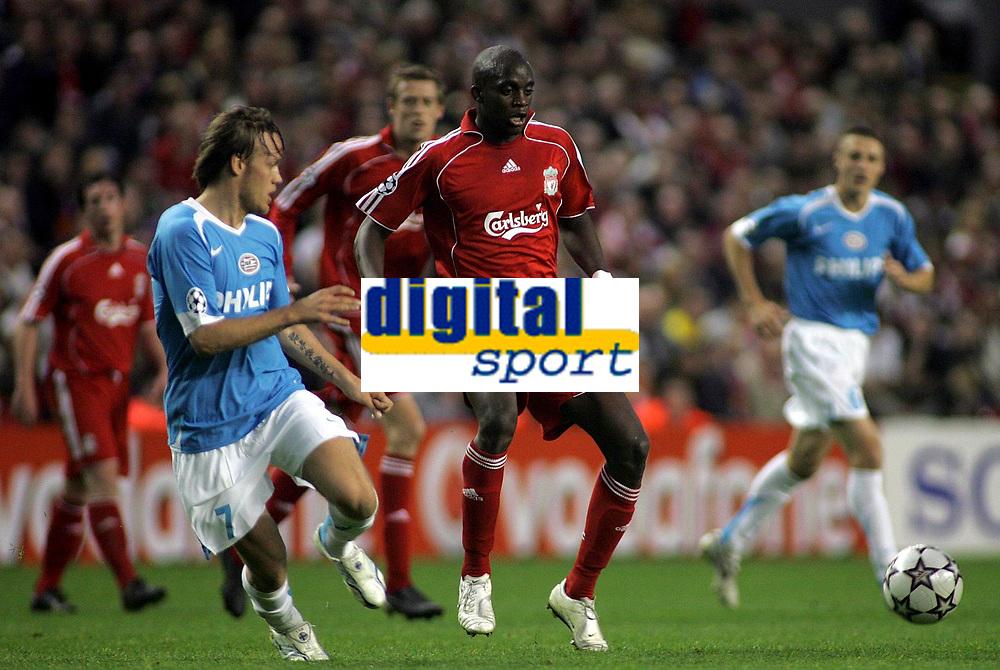Photo: Paul Thomas.<br /> Liverpool v PSV Eindhoven. UEFA Champions League. Quarter Final, 2nd Leg. 11/04/2007.<br /> <br /> Momo Sissoko of Liverpool controls the midfield.