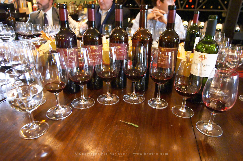 Glasses lined up for a vertical tasting and a branch of thyme, in the background bottles of Angel A Mendoza Malbec Cabernet Sauvignon Pura Sangre Domaine St Diego Lunlunta Maipu Mendoza The O'Farrell Restaurant, Acassuso, Buenos Aires Argentina, South America