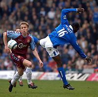 Photo. Glyn Thomas, Digitalsport<br /> Birmingham City v Aston Villa <br /> Barclays Premiership. 20/03/2005.<br /> Birmingham's Emile Heskey (R) and Villa's Martin Laursen