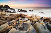 "Bizarre ""Tafoni"" sandstone formations along the rugged shoreline of Salt Point State Park in Northern Sonoma County, California."