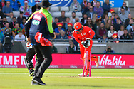 Wicket - Brett D'Oliveira of Worcestershire is run out during the Vitality T20 Finals Day Semi Final 2018 match between Worcestershire Rapids and Lancashire Lightning at Edgbaston, Birmingham, United Kingdom on 15 September 2018.