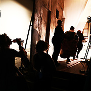 Actors and technicians are seen backstage during a performance of the Barber of Seville at the English National Opera in London, Britain, 30 October 2017.  English National Opera (ENO) is an opera company based in London. It is one of the two principal opera companies in London. English National Opera traces its roots back to 1931 when Lilian Baylis established the Sadler's Wells Opera Company at the newly re-opened the Sadler's Wells Theatre. Baylis had been presenting opera concerts and theatre in London since 1898 and was passionate about providing audiences with the best theatre and opera at affordable prices. ENO became the first British opera company to tour the United States, and the first major foreign opera company to tour what was then the Soviet Union.EPA-EFE/NEIL HALL