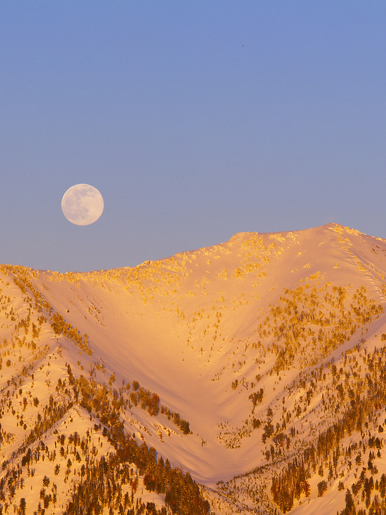 Galena Ridge Winter Full Moonrise in Central Idaho north of Sun Valley.  Licensing and Open Edition Prints