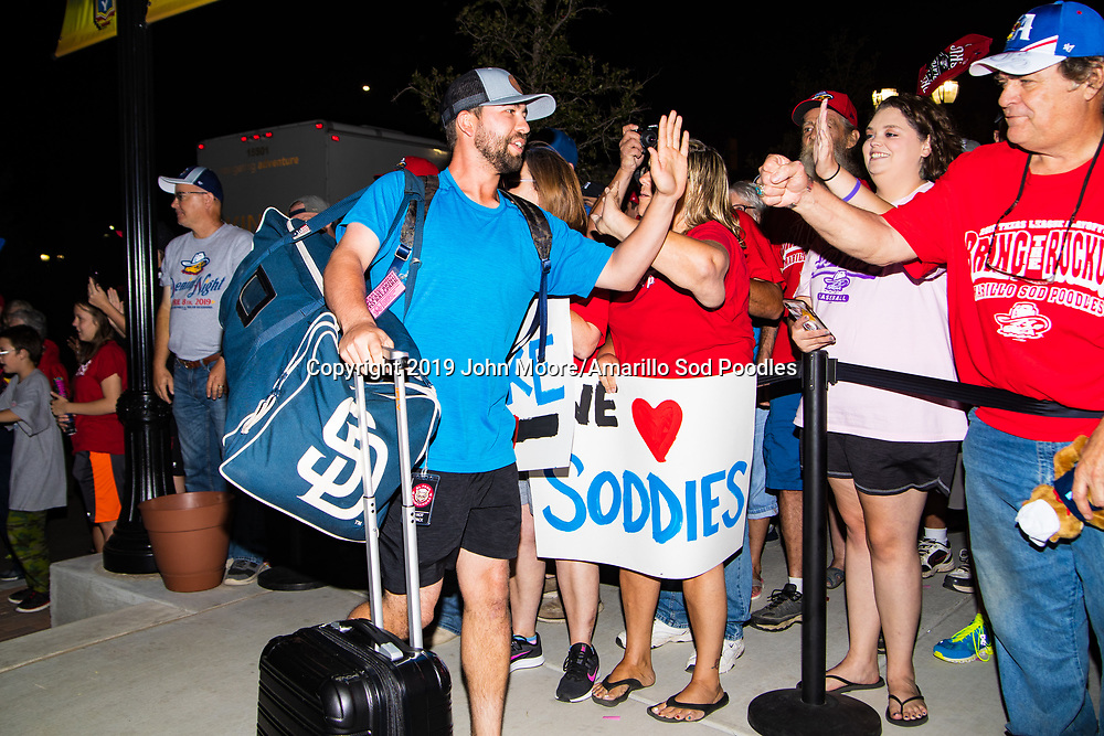 Amarillo Sod Poodles infielder Peter Van Gansen (5) greets fans during the homecoming celebration after the Sod Poodles won the Texas League Championship early on Monday, Sept. 16, 2019, at HODGETOWN in Amarillo, Texas. [Photo by John Moore/Amarillo Sod Poodles]