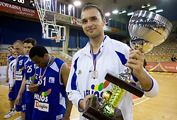 Miha Zalokar of Helios with a cup for second place at third finals basketball match of Slovenian Men UPC League between KK Union Olimpija and KK Helios Domzale, on June 2, 2009, in Arena Tivoli, Ljubljana, Slovenia. Union Olimpija won 69:58 and became Slovenian National Champion for the season 2008/2009. (Photo by Vid Ponikvar / Sportida)